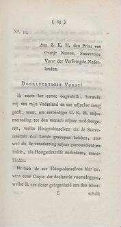 No. 11. Aan Z. K. H. den Prins van Oranje Nassau, Souvereine Vorst der Vereenigde Nederlande