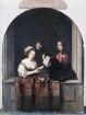 Netscher, Caspar: Selbstbildnis mit seiner Frau hinter steinerner Fensterbrüstung. Öl auf Eichenholz; 43 x 34 cm. Dresden: Gemäldegalerie Alte Meister 1347