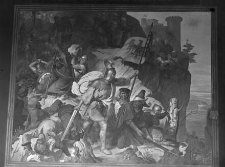 Gemäldezyklus zur Geschichte der Wittelsbacher: Otto von Wittelbach befreit das deutsche Heer im Engpaß von Chiusa 1155