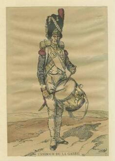 Stab Kaiser Napoleon I.: Tambour der Garde in Uniform und Mütze mit Trommel, stehend, Brustbild