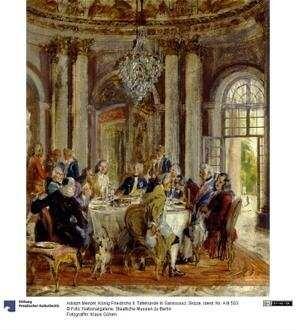 König Friedrichs II. Tafelrunde in Sanssouci. Skizze
