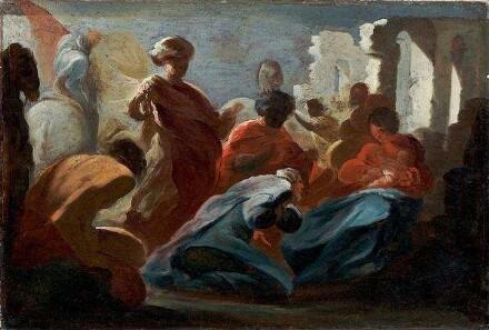 Giacinto Brandi, Die Anbetung der Könige (Farbskizze), Kunstpalast, Düsseldorf, Dauerleihgabe der Kunstakdemie Düsseldorf, Inv.-Nr. M 2318