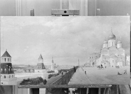 Panorama vom Kreml in Moskau — Kremlmauer und Maria Himmelfahrt Kathedrale