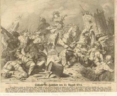 Reichsgeneralfeldmarschall Herzog Eberhard Ludwig von Württemberg in der Schlacht bei Höchstädt, 1704, schiessende Soldaten, zerstörter Korbsplitterschutz, eingenommene Kanone