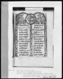 Psalterium (sogenannter Landgrafenpsalter) — Litaneiseite, unter den Bögen zwei heilige Bischöfe mit dem Lamm Gottes, Folio 175recto