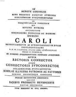 Programma de Nepote Cornelio bene merendi aliquot subsidia Bibliothecae Guelpherbytanae indicans