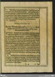 Dialogus VI. Kurtzer Bericht, worauff der Religionsstreit zwischen den genanten Lutherischen und Calvinisten, vornehmlich bestehe