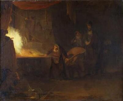Der Betrachter schaut in einen werkstattartigen, dunklen Raum; die Bildmitte nimmt ein gebeugter Greis, zwischen einer großen Tafel und einem Lehnstuhl stehend, dahinter tauchen aus dem Dunkel zwei weitere männliche Gestalten auf; die einzige Lichtquelle ist ein nicht weiter definierbarer Feuerball auf der besagten Tafel am linken Bildrand; davor taucht hinter einem Vorhang eine weitere männliche Gestalt in Rückenansicht  auf, mit Hut und einem langen Umhang bekleidet, der das Geschehen zu beobachten scheint; zu seinen Füßen kauert ein Hund.  Illustrierte Textstelle: Dr. Faustus