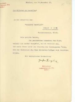 Brief von Joachim Ringelnatz