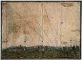 """Geschossflugbahnen. Paul Buchner, 1577. Feder, Pinsel/Papier. 30 x 40 cm. Bez.: """"Proportion eines Quadrats, / welches 1500 Dresnischer / Elenn gros Ist."""" """"Paulus Puchner / Haußzeugmeister / 1577"""""""