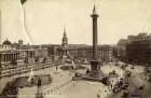 London. Blick auf Trafalgar Square mit Zierbrunnen und hoher Monumentsäule Nelson´s Column mit Einmündung Strand