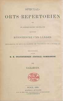 Special-Orts-Repertorium von Galizien ; Bd. 12