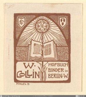 Exlibris Collin, W., Hofbuchbinder
