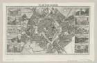 Plan und Ansichten von Leipzig, 1:15 000, Stahlstich, um 1840