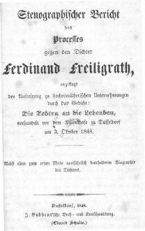 Erster politischer Prozeß vor dem Geschwornen-Gerichte gegen Freiligrath, Provenienz: ULB Düsseldorf