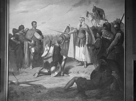 """""""Vaterländische Geschichtsgalerie"""": Jacobäa von Bayern-Hollan erficht den Sieg bei Alpen, im Jahre 1426"""
