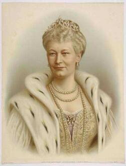 Kaiserin Auguste Victoria, Königin von Preußen, Brustbild mit Diadem, Perlenschmuck und Hermelinmantel