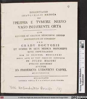 Dissertatio Inavgvralis Medica De Epilepsia E Tvmore Nervo Vago Inhaerente Orta