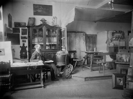 Künstleratelier Edmund Harburger (1846-1906), Genremaler und Illustrator