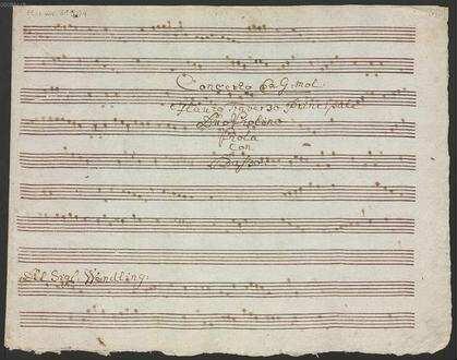 Concertos, fl, vl (2), vla, b, KV 284e, g-Moll - BSB Mus.ms. 21904 : [title, b:] Concerto Ex G: Mol: // Flauto Traverso Principale // Duo Violino // Viola // Con // Basso. // Del Sig: Wendling