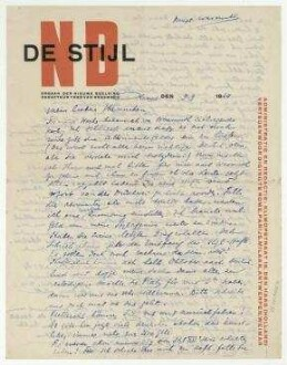 "Brief von Theo van Doesburg an Hannah Höch. [Clamart]. Briefkopf: ""NB DE STIJL [...]"""