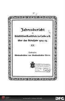 Jahresbericht der Städtischen Realschule zu Calbe a.S. [Elektronische Ressource] ... - 1924/25; 1924/25