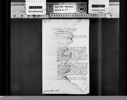 Anweisung von Rechnungen an die Landkasse zu Braunfels und das ihr auferlegte Zahlungsinterdikt