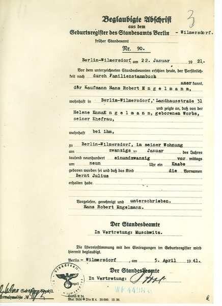 Geburtenregister dem auszug berlin aus Rüdersdorf bei