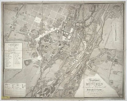 Plan von München und Umgebung, 1:5 000, Radierung, 1812