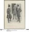 Drei Herren in eleganter Kleidung: Gehrock und Cutaway