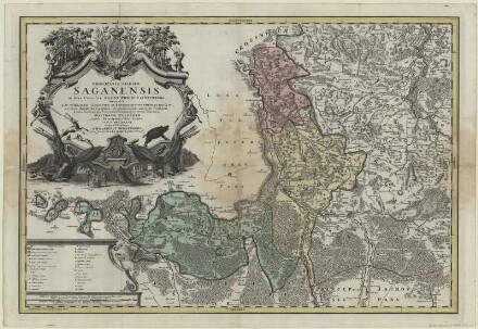 Karte vom Herzogtum Sagan in Schlesien, ca. 1:110 000, Kupferstich, 1736