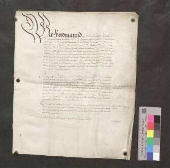 Kaiser Ferdinand bestätigt die Privilegien der Stadt Bräunlingen.