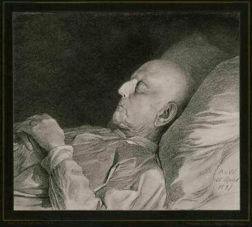 Graf Helmut von Moltke, Generalfeldmarschall auf Totenbett liegend, in Profil