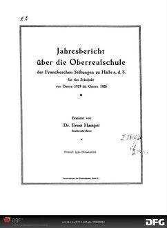 Jahresbericht über die Oberrealschule der Franckeschen Stiftungen zu Halle a.d.S. [Elektronische Ressource] ... - 1925/26; 1925/26