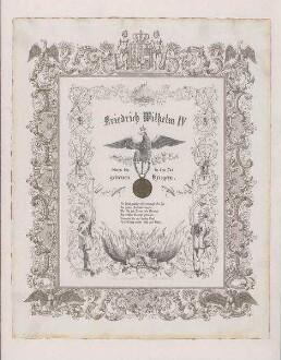 Friedrich Wilhelm IV. seinen bis in den Tod getreuen Kriegern Provenienz: Heinrich-Heine-Institut, Bildarchiv, Sammlung Krost