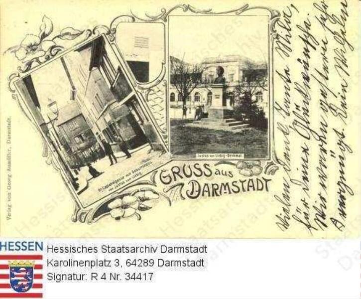 Darmstadt, Geburtshaus Prof. Justus v. Liebigs (1803-1872) in der Großen Caplaneigasse und Denkmal Justus v. Liebigs