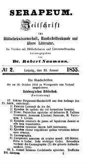 Die Handschriften der am 10. October 1854 zu Wernigerode zum Verkauf ausgebotenen Zeisberg'schen Bibliothek (Fortsetzung)