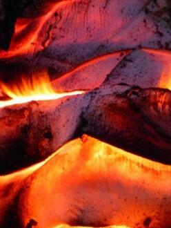 Detail der Abdeckung im Feuer