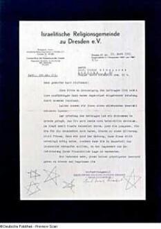 Schreiben der Israelitischen Religionsgemeinde zu Dresden e.V. an Prof. Victor Klemperer vom 11.03.1941 mit abschlägigem Bescheid betr. Beitragsermäßigung