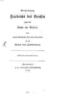Vertheidigung Friedrichs des Großen gegen den Grafen von Mirabeau : Nebst einigen Anmerkungen über andere Gegenstände