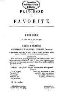 Princesse et favorite : drame en cinq actes précédés d'un prologue