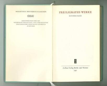Titelblatt von Freiligraths Werken