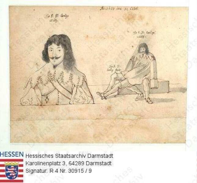Jagd, Niddaer Sauhatz / Bild 9: Landgraf Wilhelm V. v. Hessen-Kassel (1602-1637) / 2 Porträts, vorblickendes Brustbild, dann auf Schoß von Landgraf Friedrich v. Hessen-Darmstadt (1616-1682) sitzende Ganzfigur