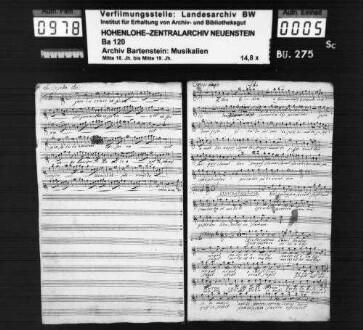 Friedrich Gottlieb Stark: Bassio (!) Dominica. / Modulamine Musica proposita / à / Canto Alto Tenore Basso. / Violino Prima / Violino Secundo. / Alto Viola obl: / Cornu Primo et Secundo / Con / Violoncello / del Sig. Starck. / (E heu E heu mortalis); Ms.ca. 1780.