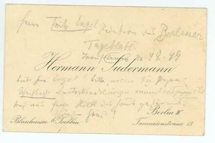 Visitenkarte von Hermann Sudermann