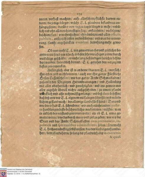 Streitschriften zwischen Landgraf Wilhelm V. zu Kassel und Landgraf Georg II. zu Darmstadt wegen Religionsstreitigkeiten in der Stadt Schmalkalden