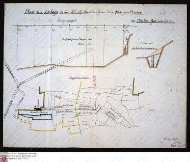 Lageplan, Querschnitt und Längenprofil zur Anlage eines Schiessstandes des Kriegervereins zu Nieder-Gemünden