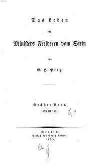 ˜Dasœ Leben des Ministers Freiherrn vom Stein. 6,[1], 1823 bis 1831