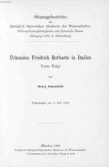 Urkunden Friedrich Rotbarts in Italien. 4