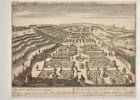 Guckkastenbild: Der östliche Teil des Gartenparterres von Schloss Sanssouci aus der Vogelschau.